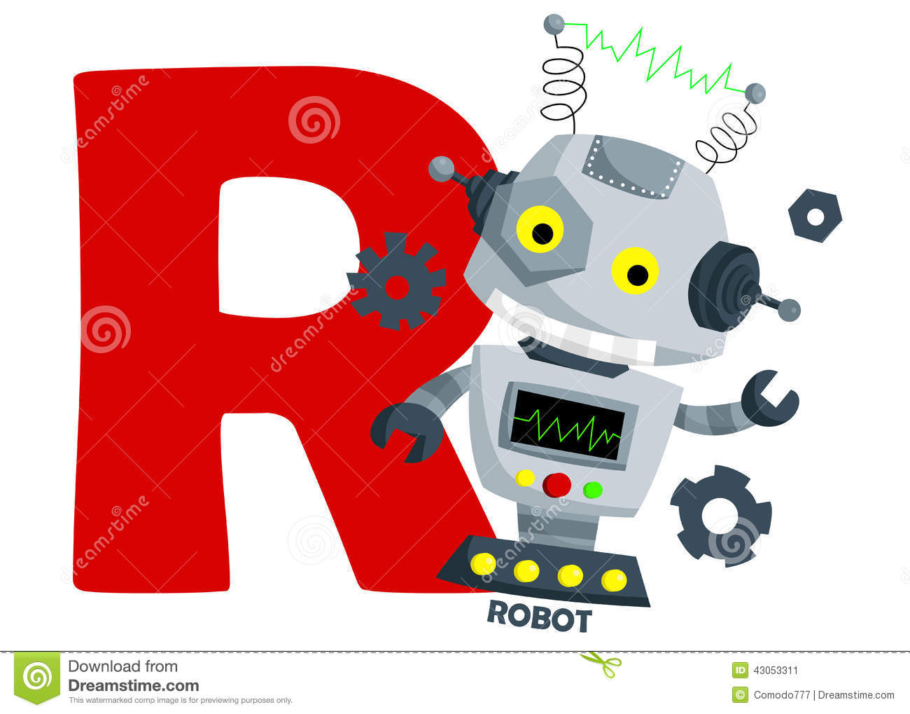 R For Robot Stock Vector