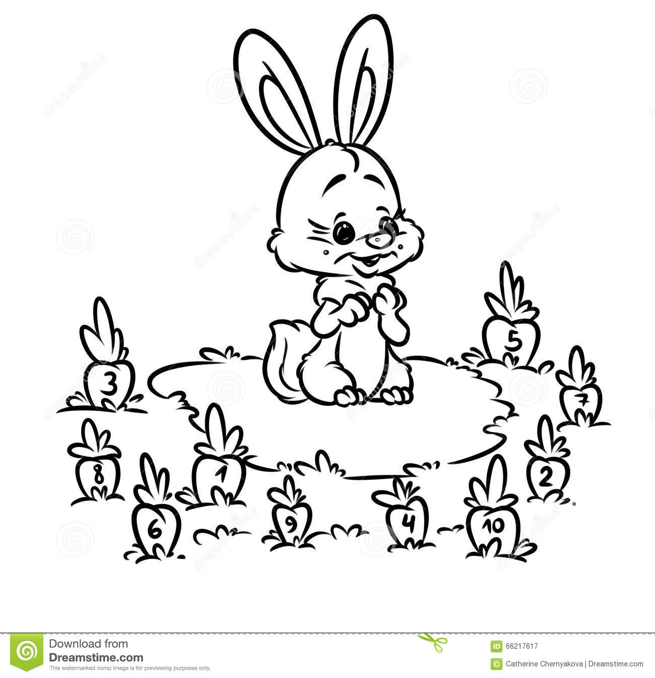 Rabbit Carrot Math Kids Coloring Pages Stock Illustration