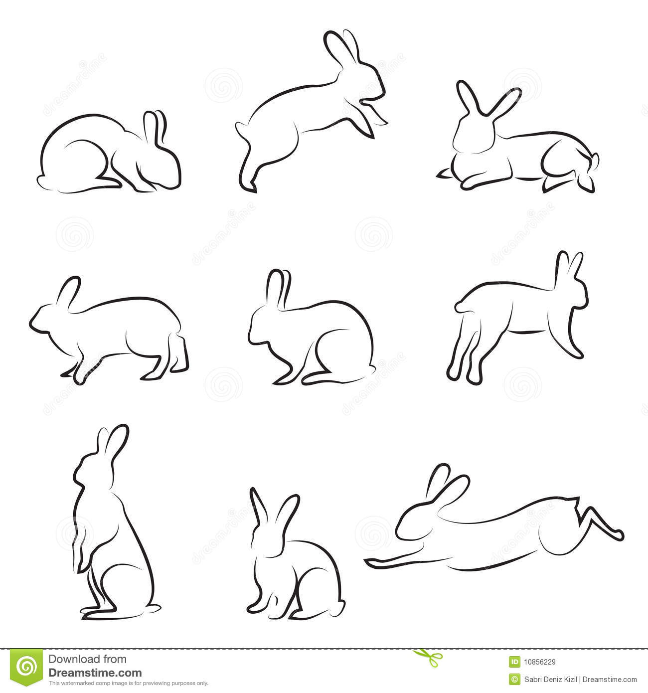 Rabbit Drawing Set Royalty Free Stock Images