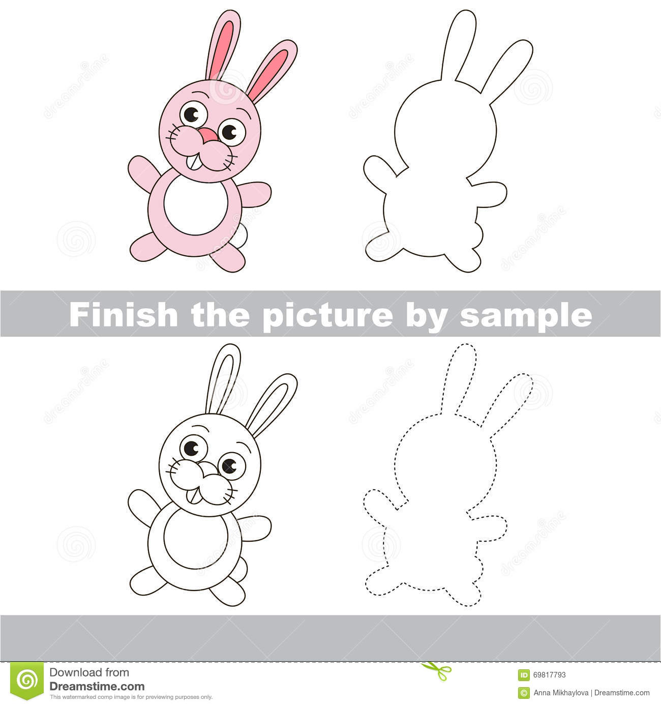 Rabbit Drawing Worksheet Stock Vector Illustration Of
