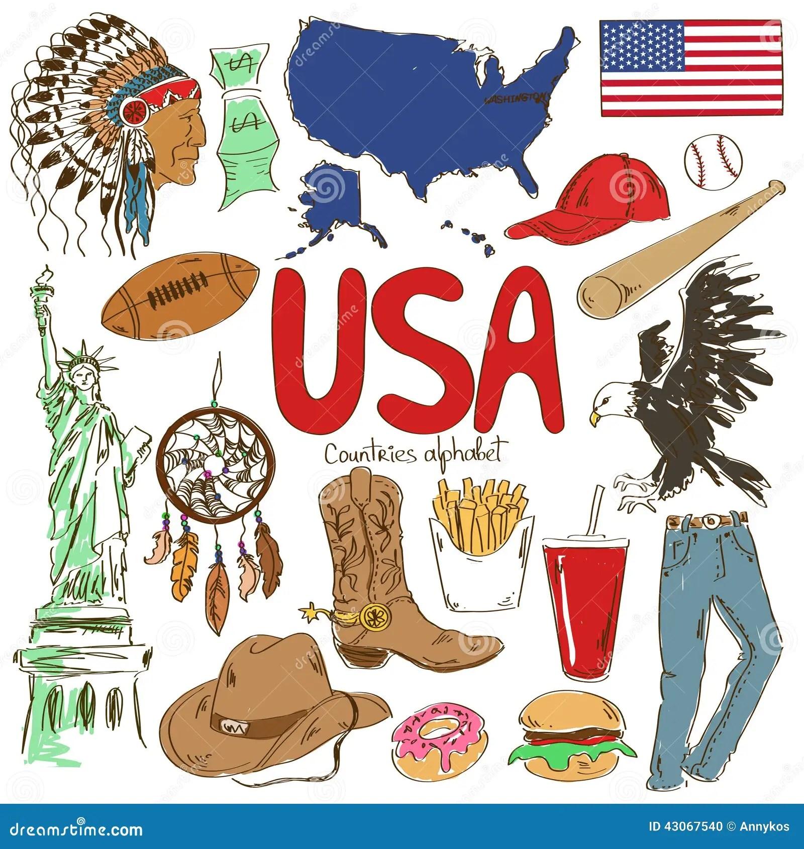 Raccolta Delle Icone Di U S A Illustrazione Vettoriale