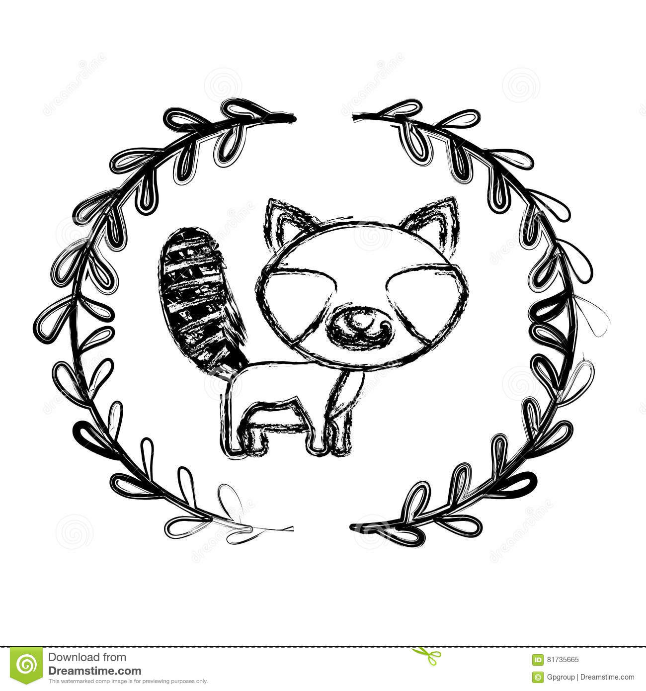 Raccoon Cartoon Design Stock Illustration