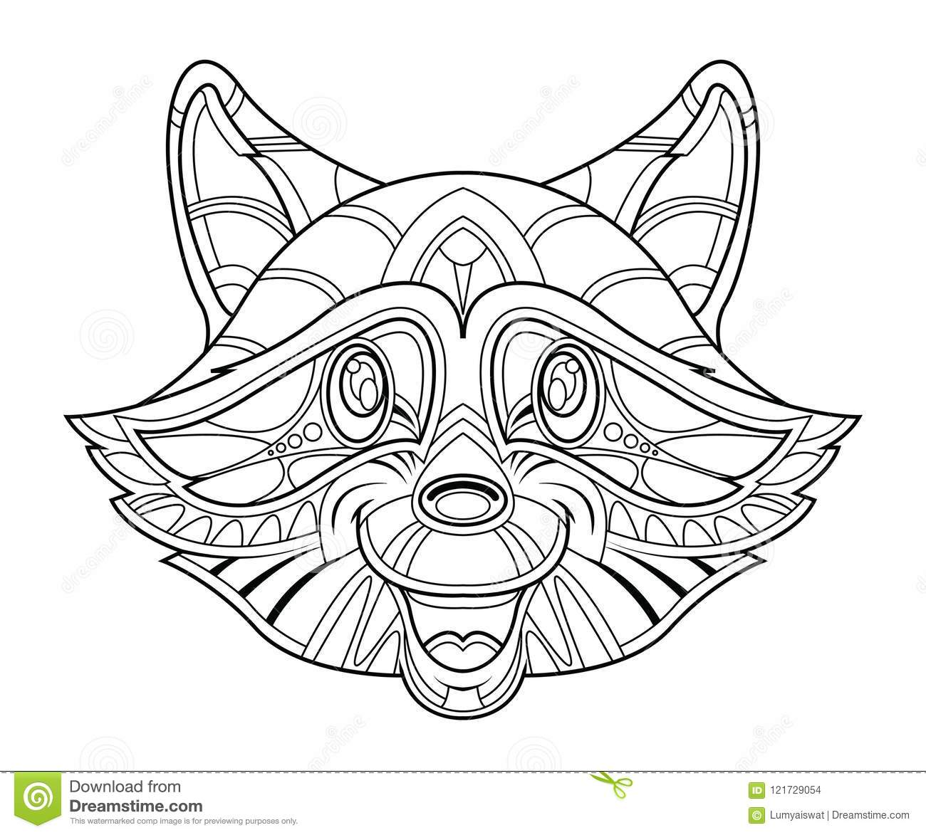 Raccoon Head Coloring Page Stock Vector Illustration Of