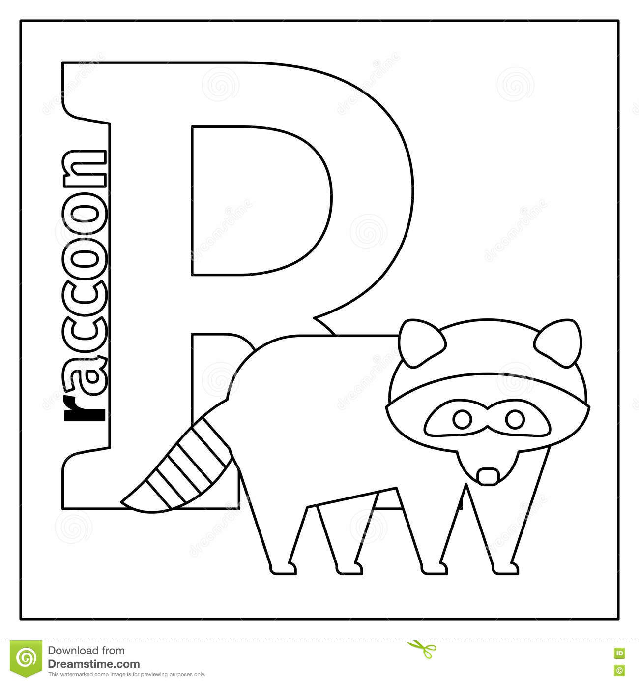 Raccoon Letter R Coloring Page Stock Vector