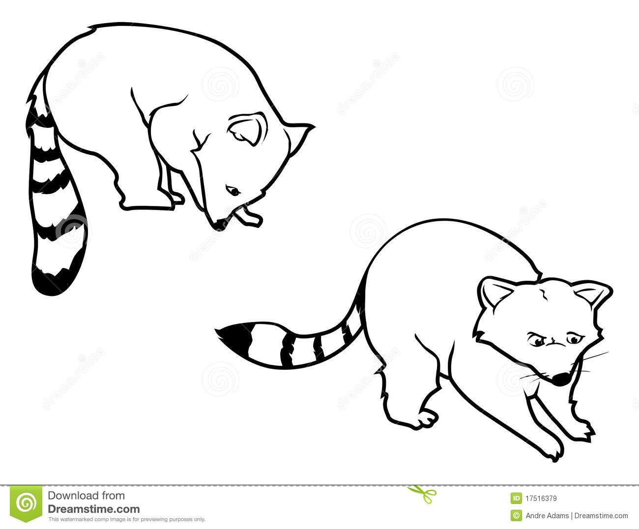 Raccoon Outlines Royalty Free Stock Images