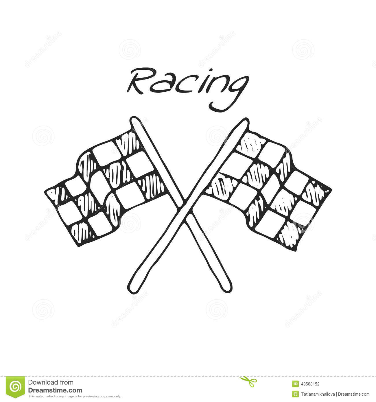 Racing Flag In A Drawing Style Stock Vector