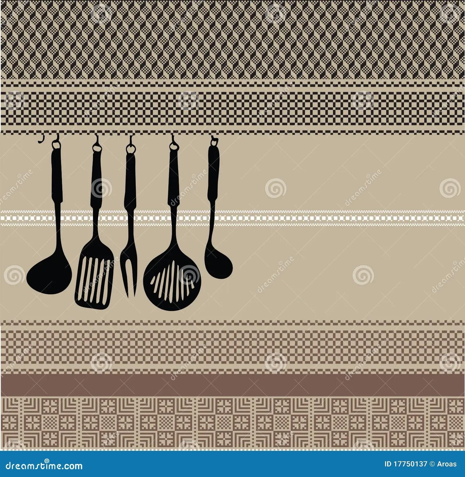Rack Of Kitchen Utensils On Ancient Background Stock