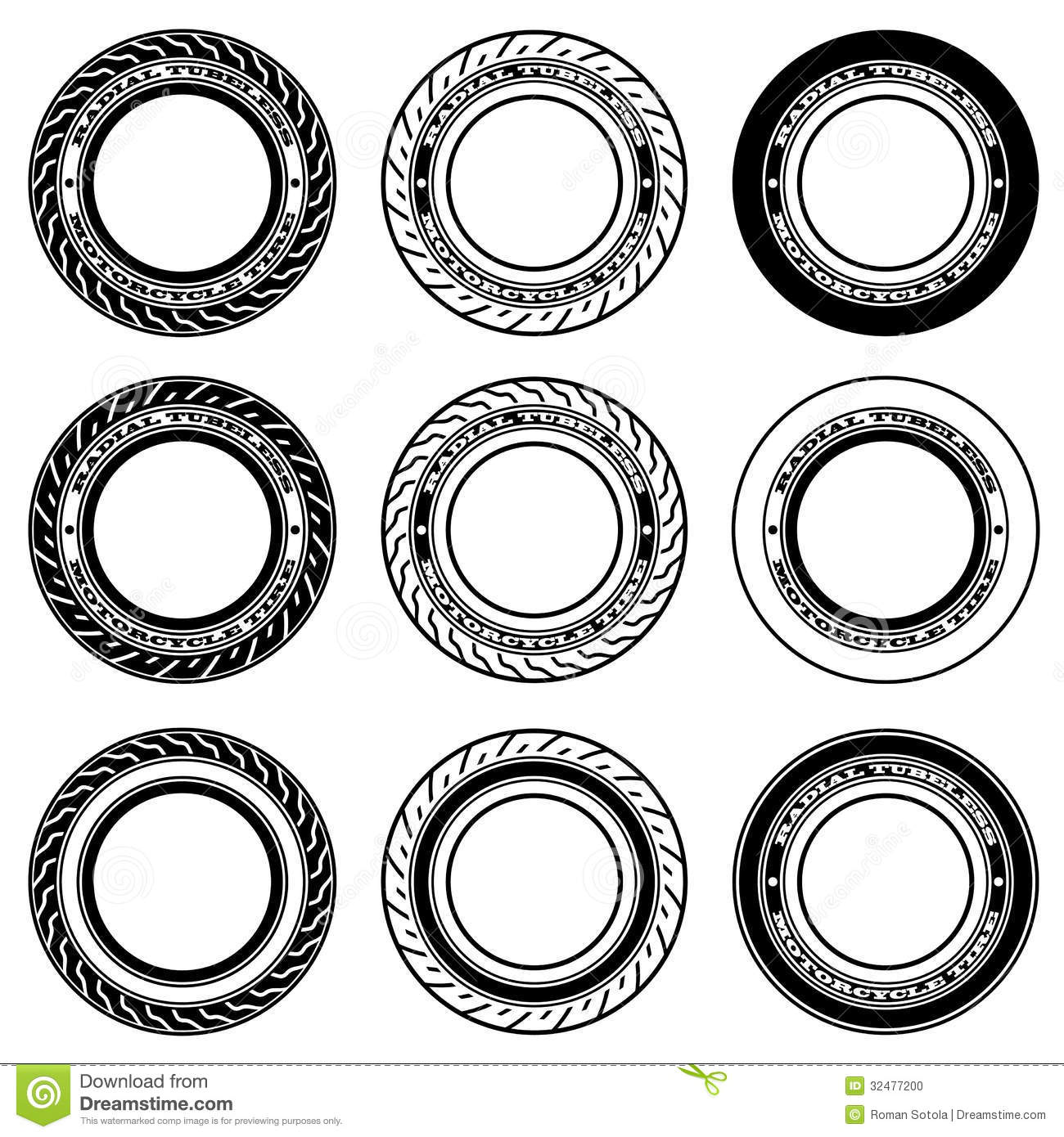 Radial Tubeless Motorcycle Tyre Symbols Stock Vector