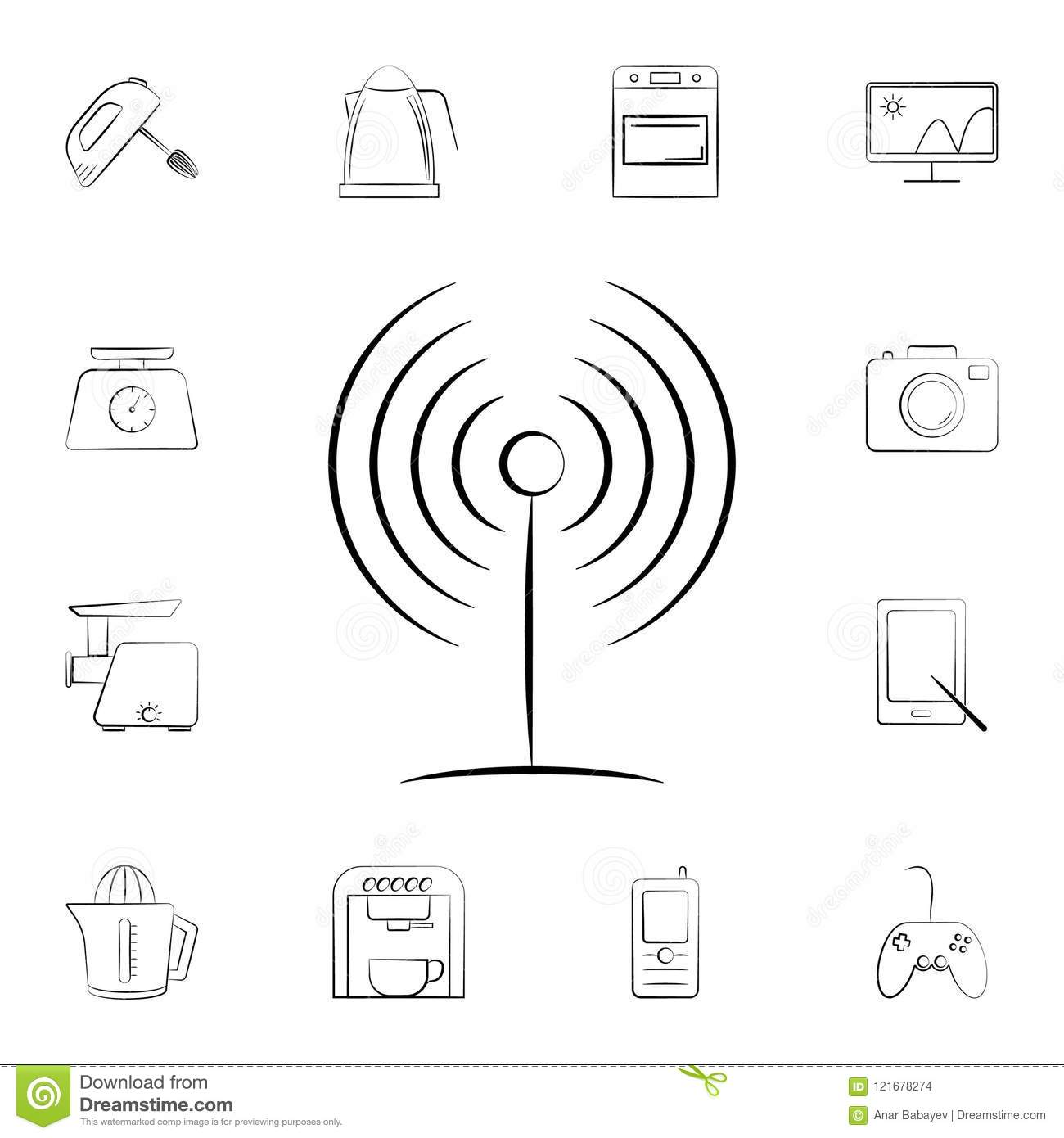 Home Network Equipment Connection Set Vector Vector