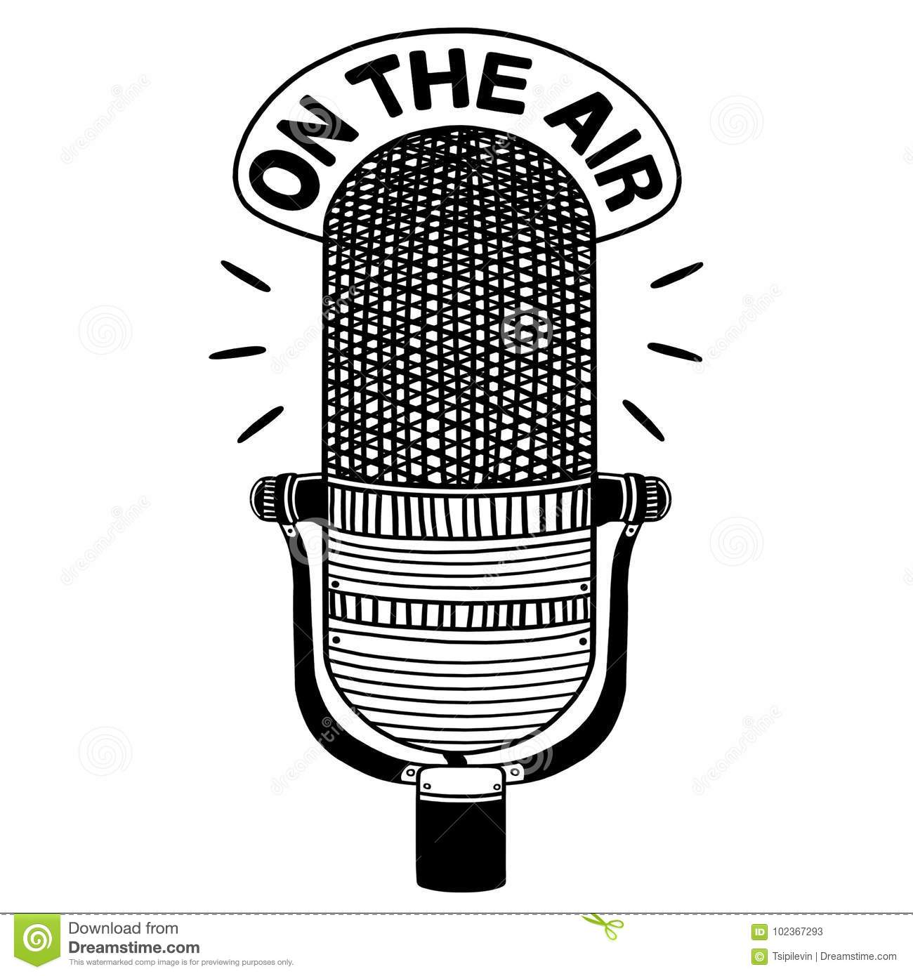 Radio Microphone Outline Illustration Stock Illustration