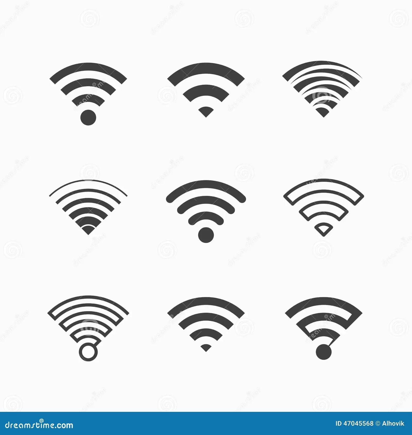 Radio Symboler Wi Fi Vektor Illustrationer Illustration