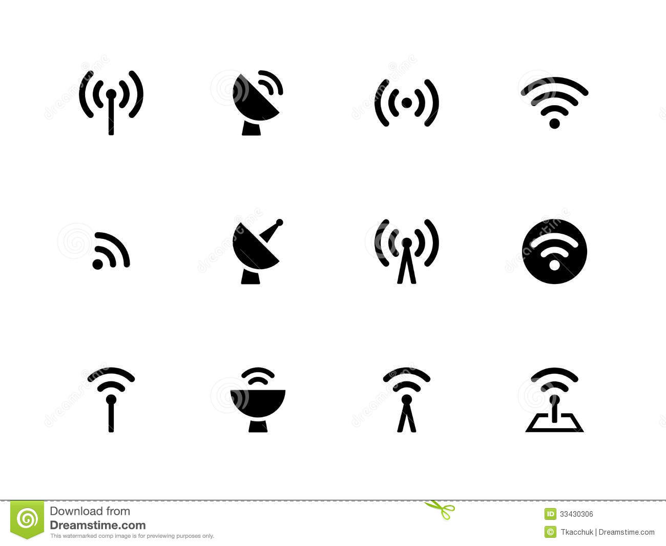 Radio Tower Icons On White Background Stock Vector