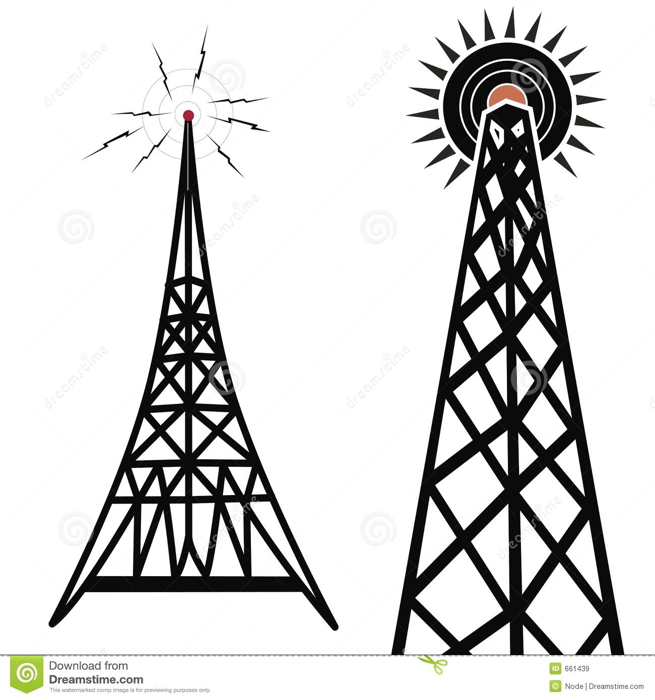 Radio Towers Stock Illustration Illustration Of Drawing