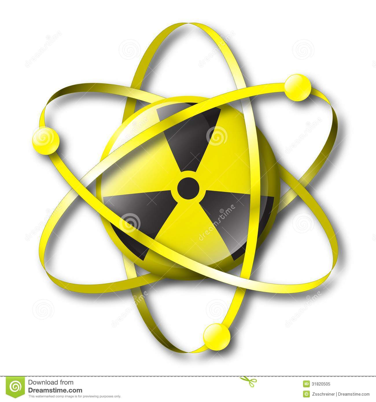 Radioactive Nuclear Symbol With Electrons Stock