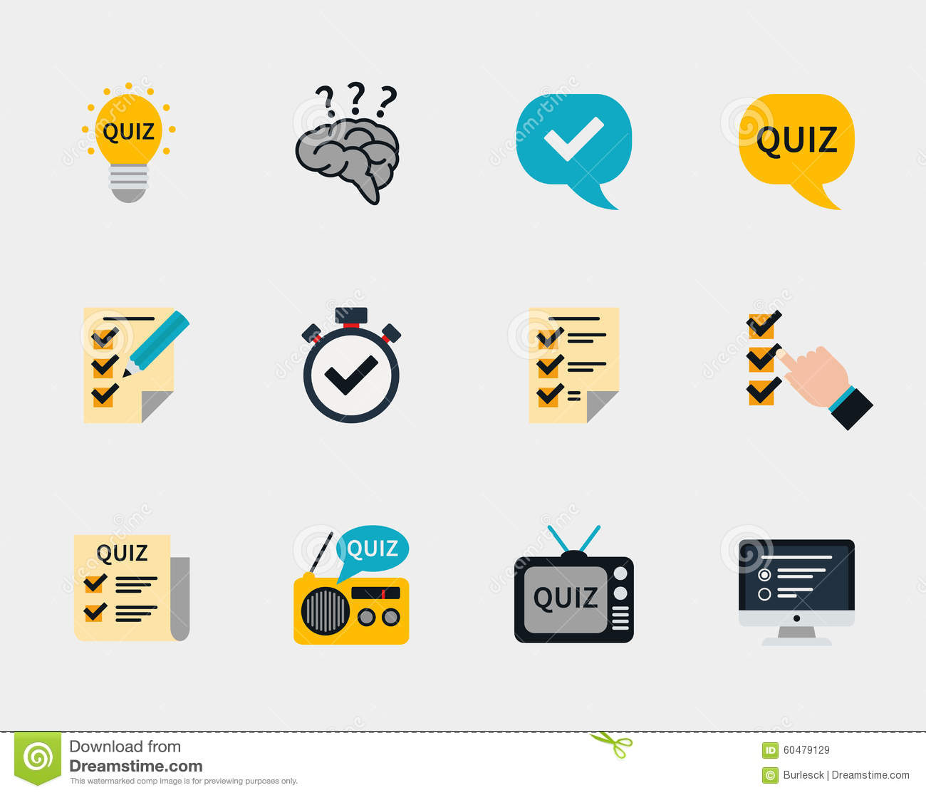 Raffle Prizes And Quiz Flat Icons Stock Vector