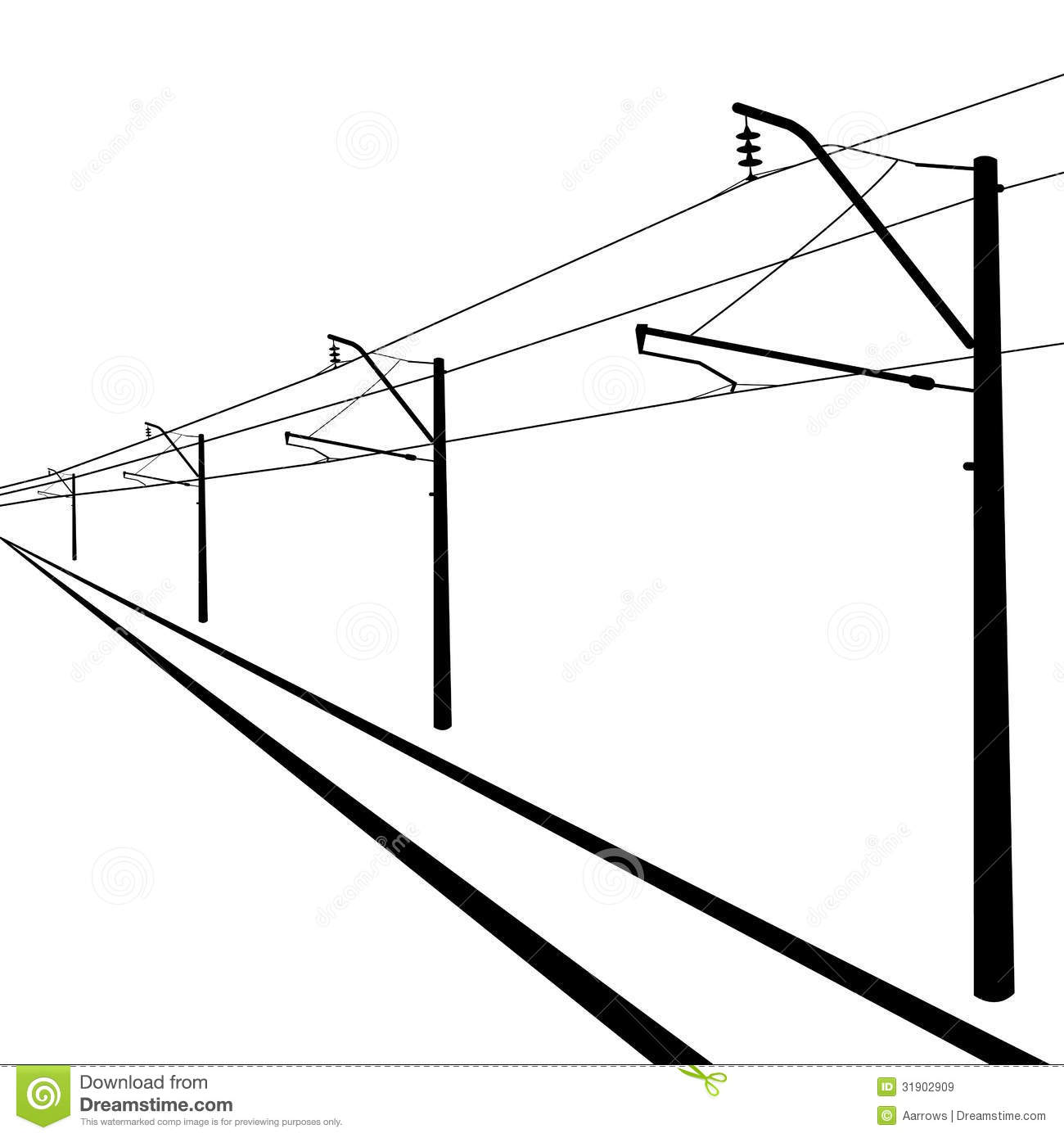 Railroad Overhead Lines Stock Vector Illustration Of