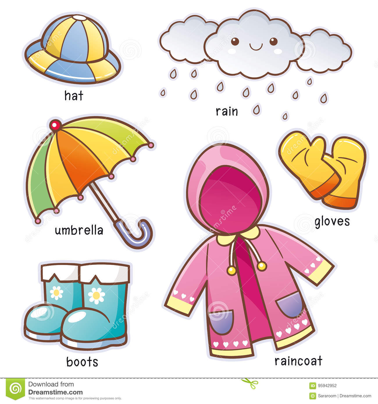 Rain Clothes Stock Vector Illustration Of Boots Clothes