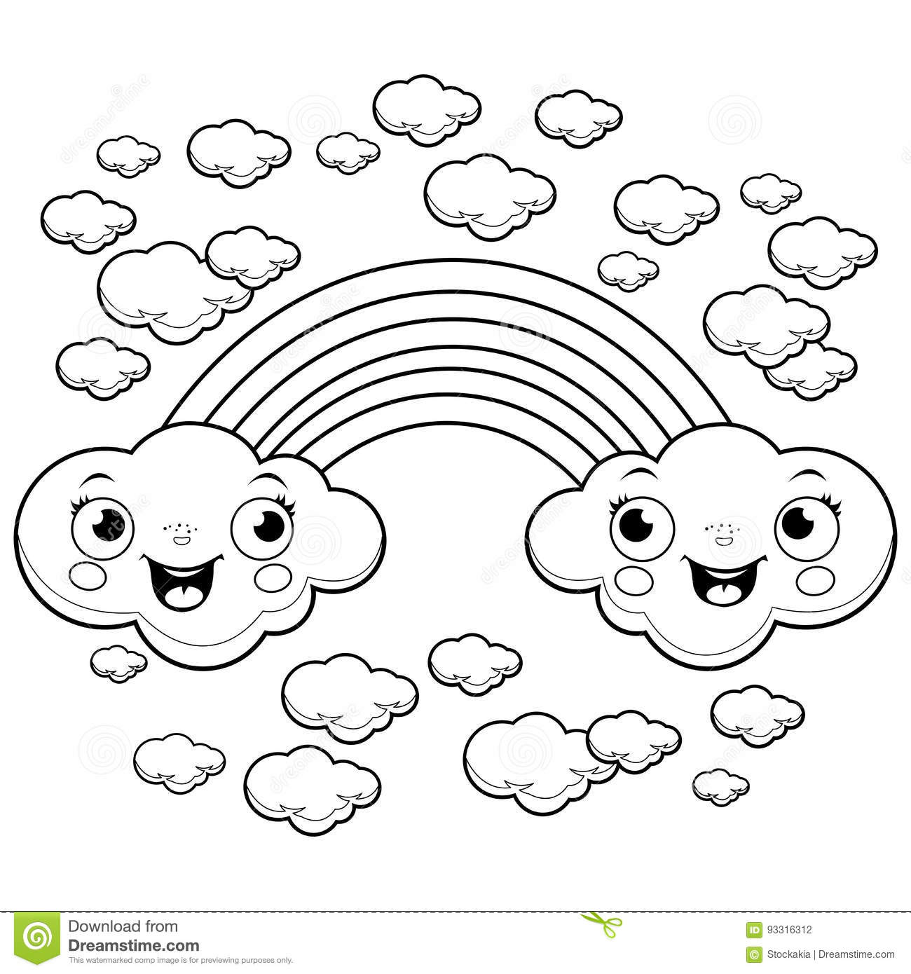 Rainbow Cloud Characters Coloring Page Stock Vector
