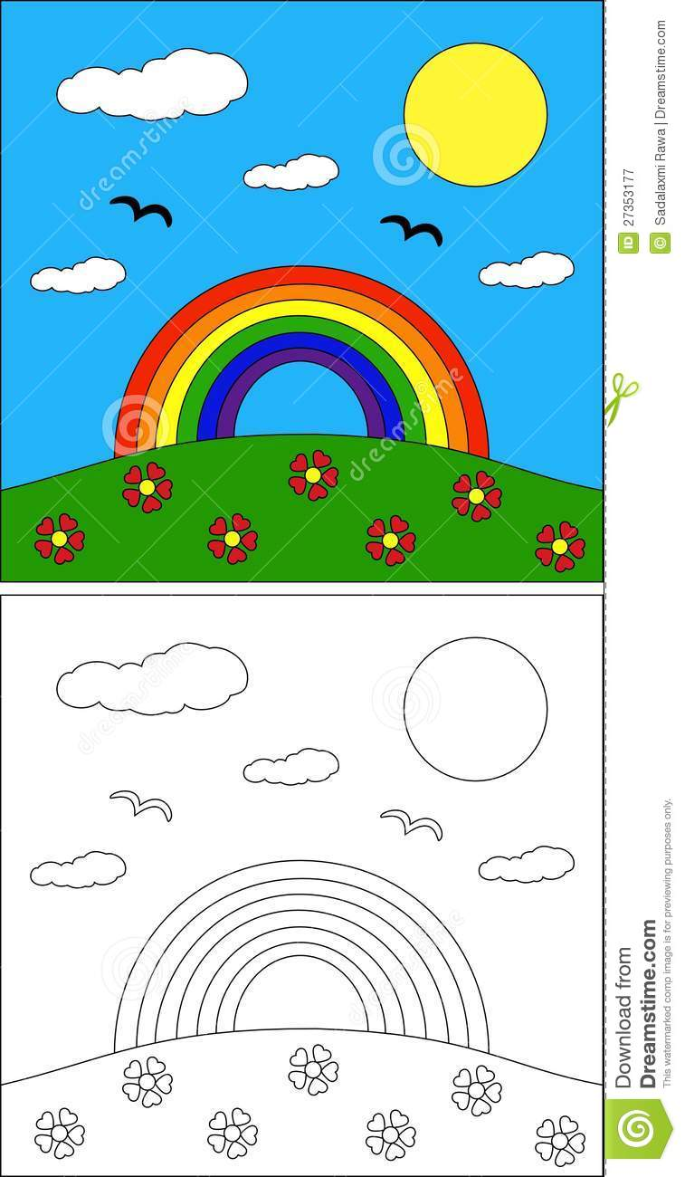 Rainbow Coloring Page Stock Vector Illustration Of Scenery 27353177