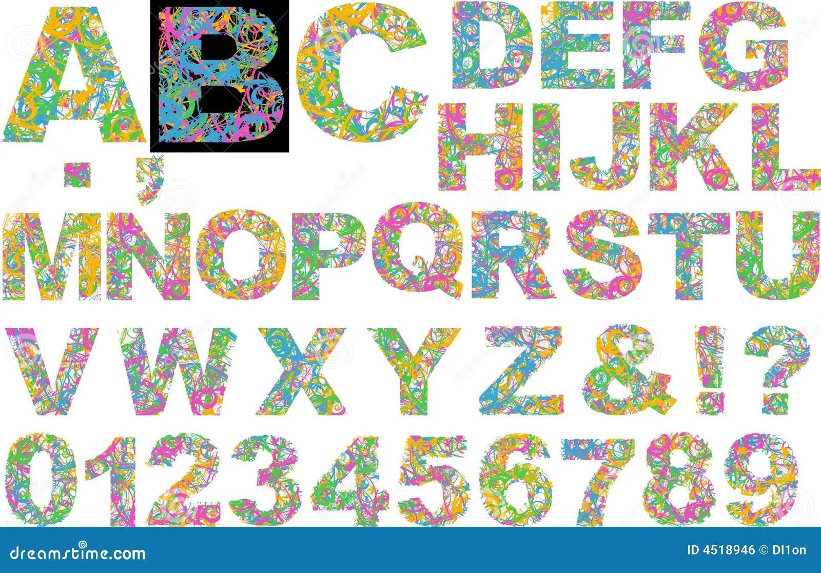 Rainbow Colors Curves Alphabet Stock Illustration