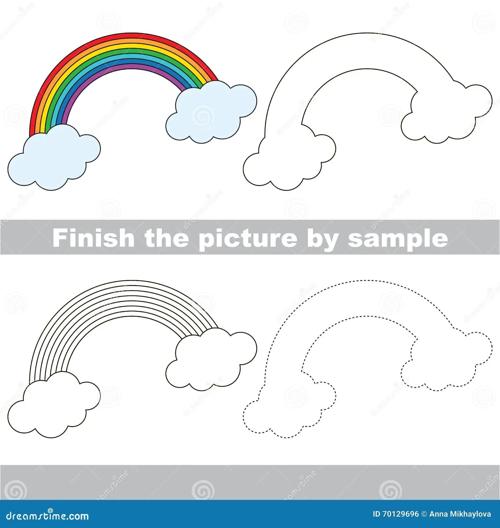 Rainbow Drawing Worksheet Stock Vector