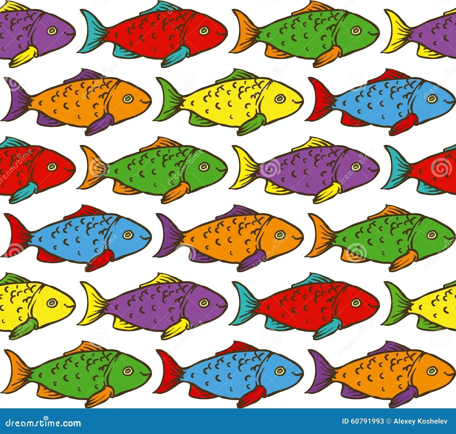 Rainbow Fish Seamless Pattern Stock Vector