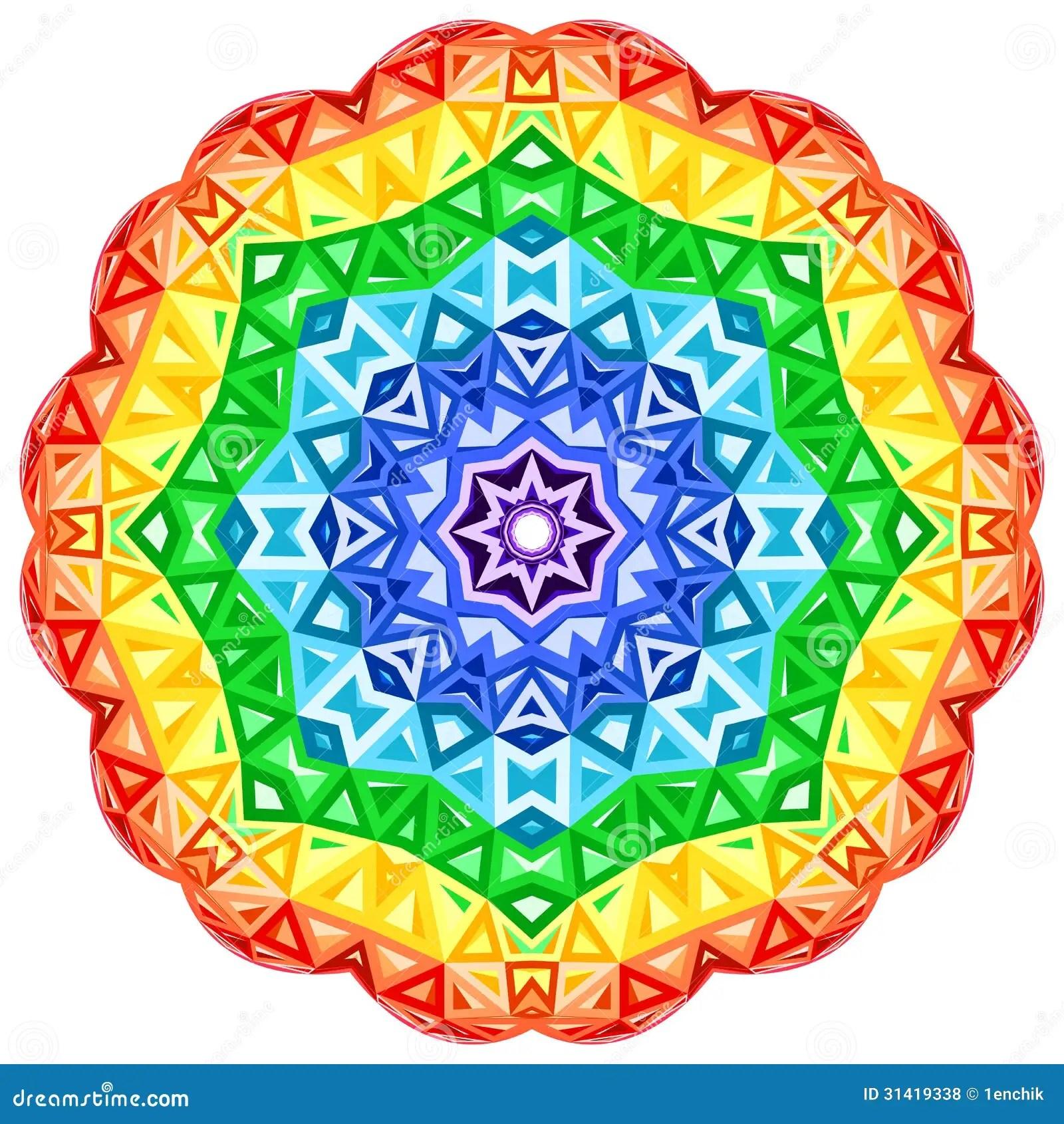 Rainbow Kaleidoscope Vector Vibrant Circle Stock Vector