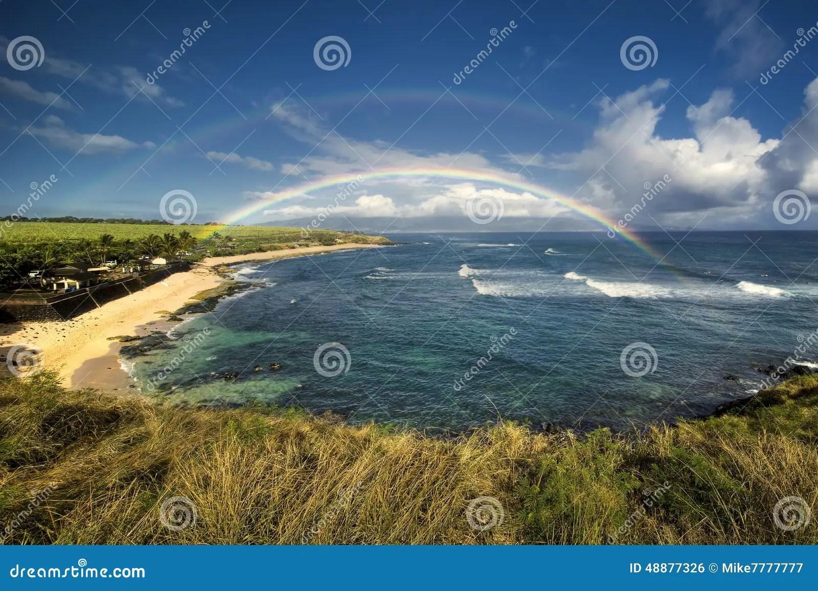 Rainbow Over Hookipa Beach Park North Shore Of Maui