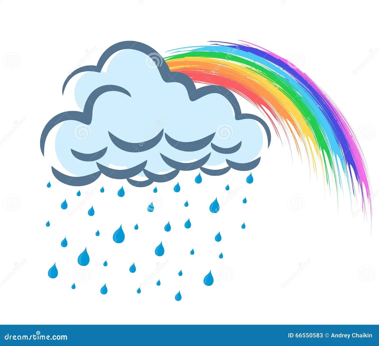 Rainbow With Rain Stock Vector Illustration Of Rainbow