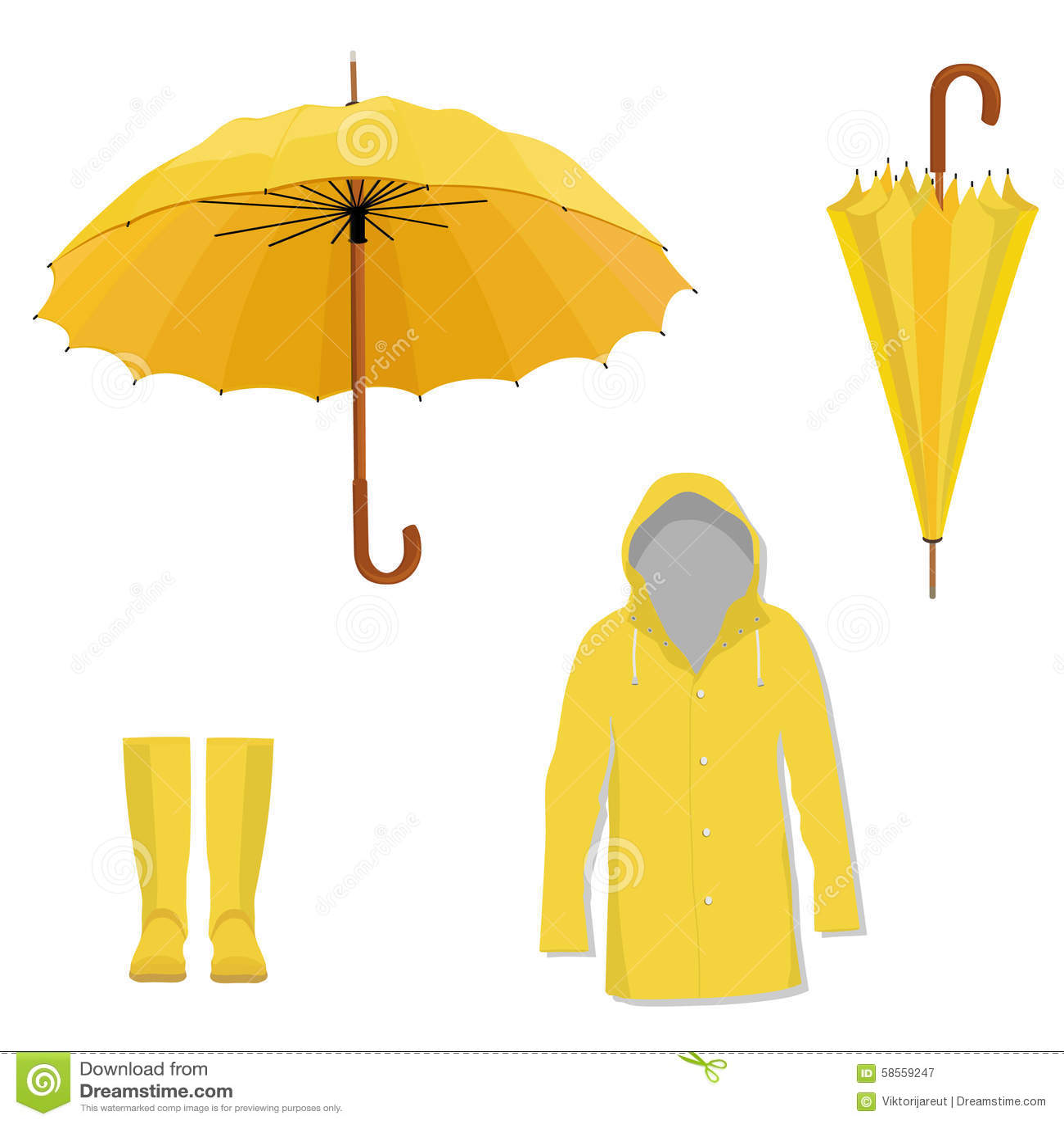 Raincoat Boots Umbrella Stock Illustration Illustration