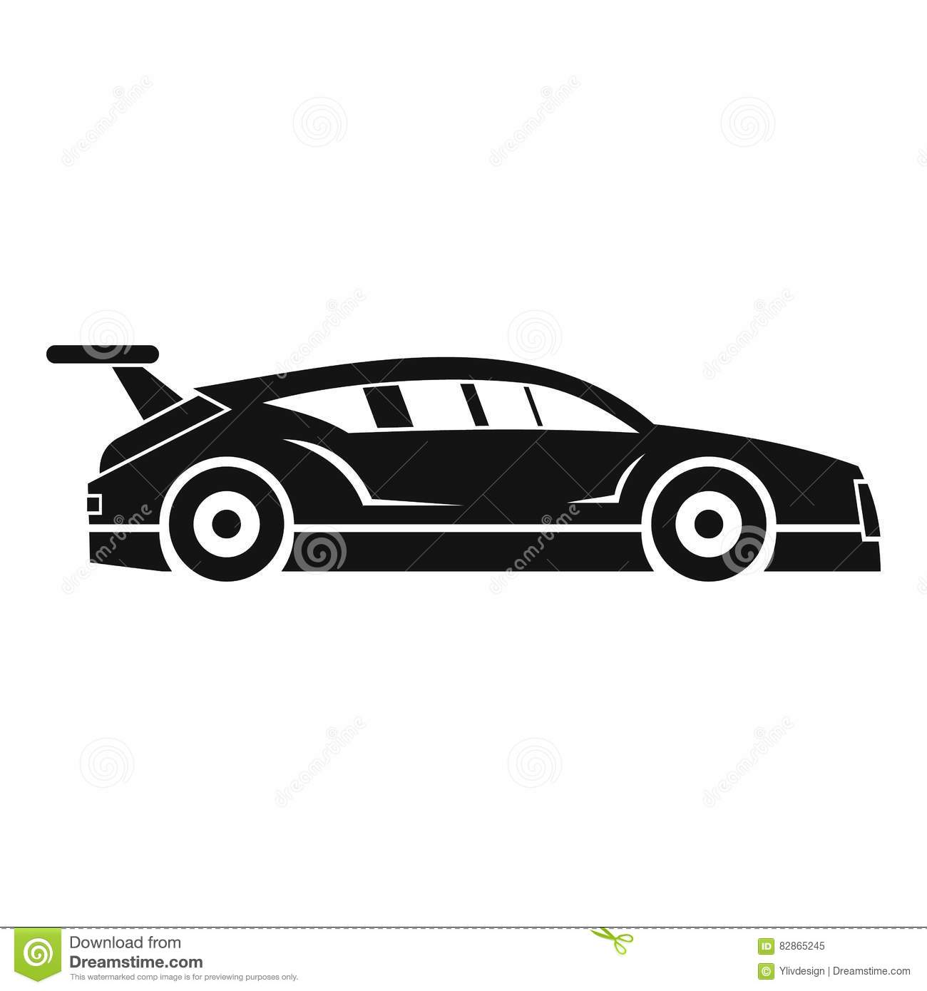 Icon Of A Fast Racing Car In Motion Cartoon Vector