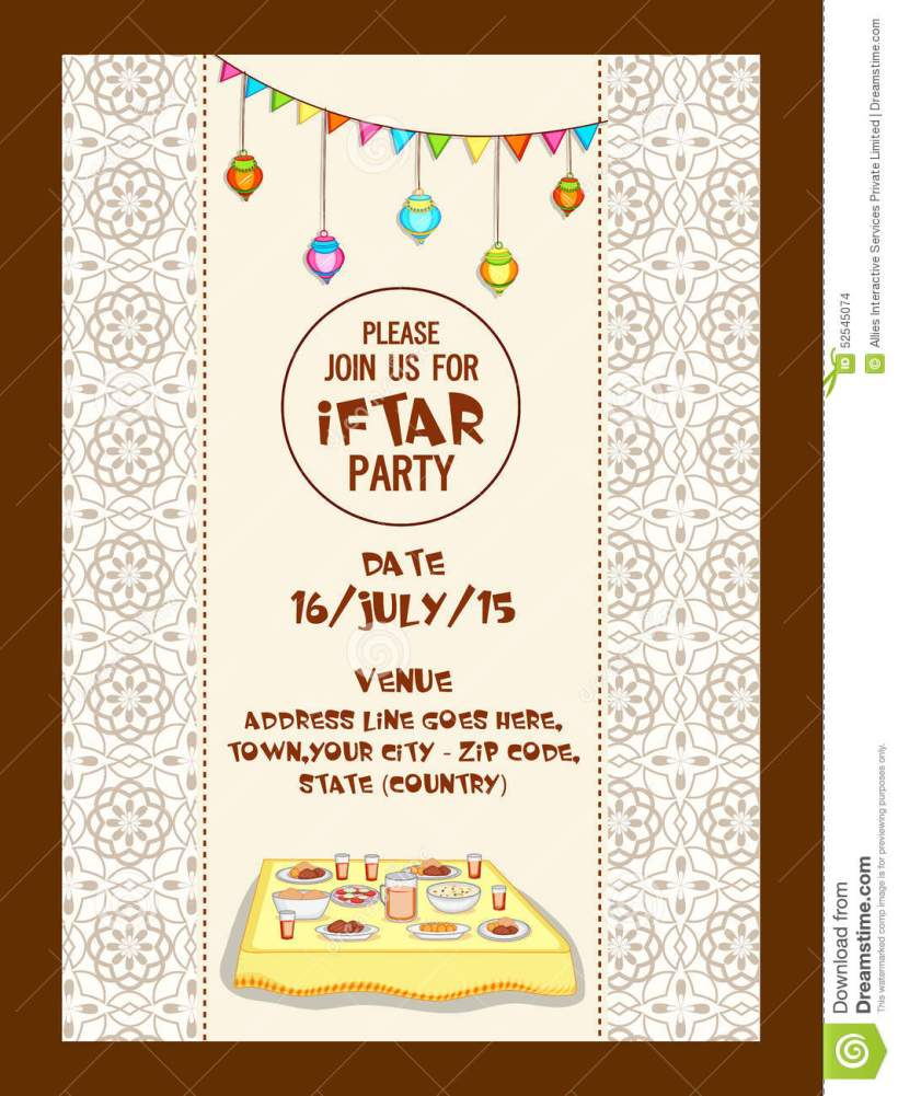 Ramadan Kareem Iftar Party Celebration Invitation Card Design