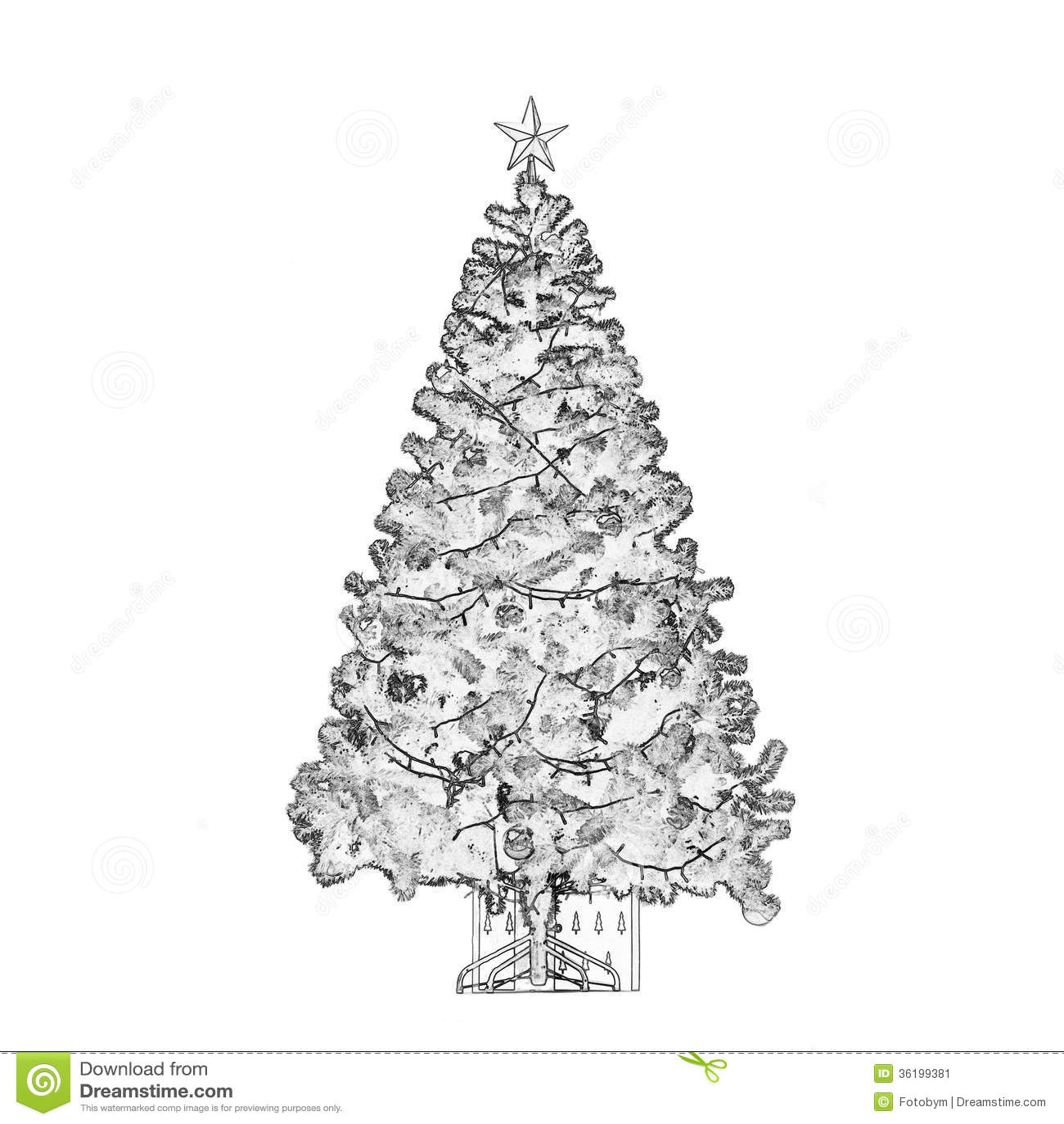 Arbol De Navidad Blanco Y Negro Imagen De Archivo