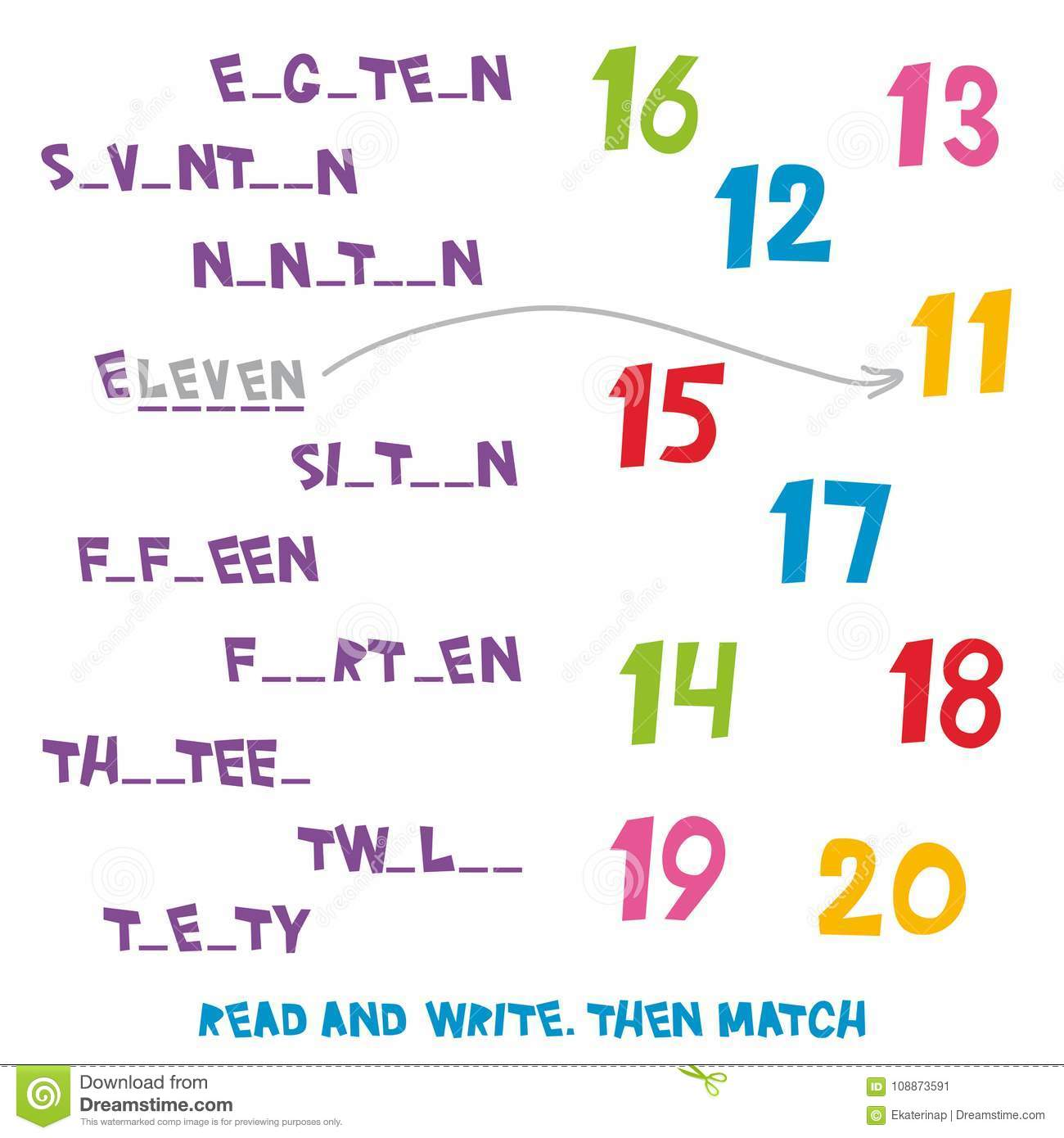 Read And Write Then Match The Numbers 11 To 20 Kids