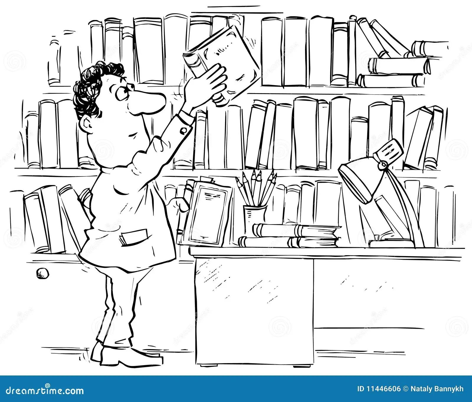 Reader In Library Stock Vector Illustration Of