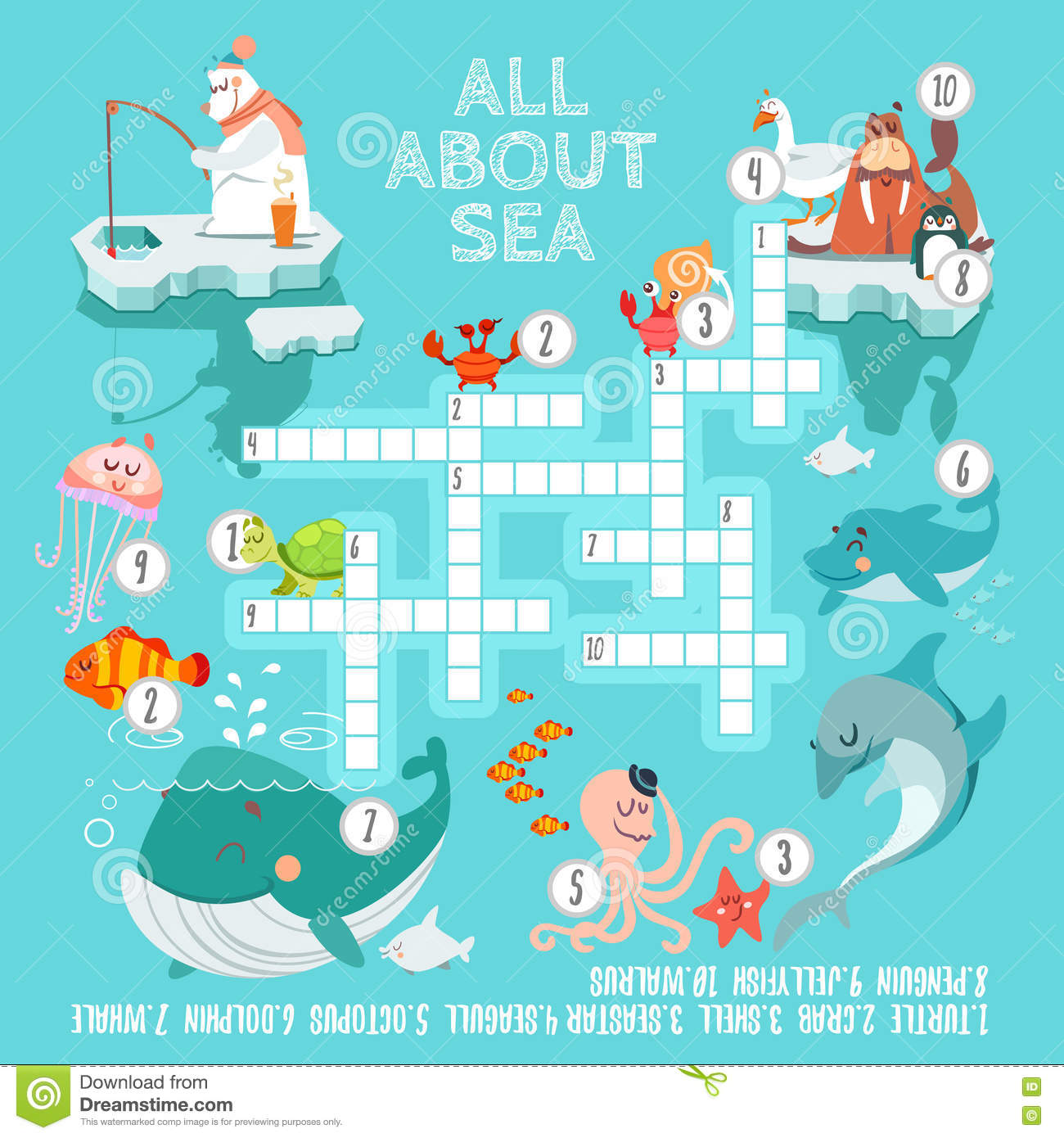 Ready Crossword Game About Sea Creatures Stock Vector