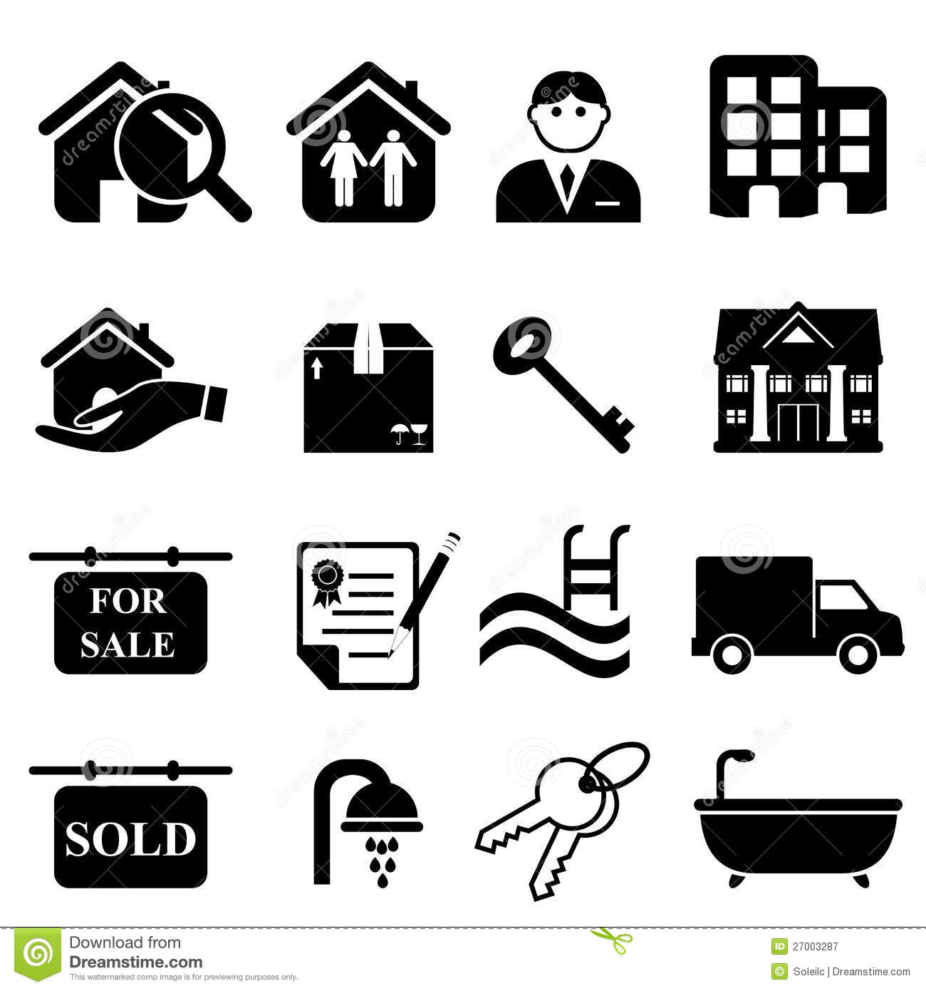 Real Estate Icons Stock Vector Illustration Of Estate