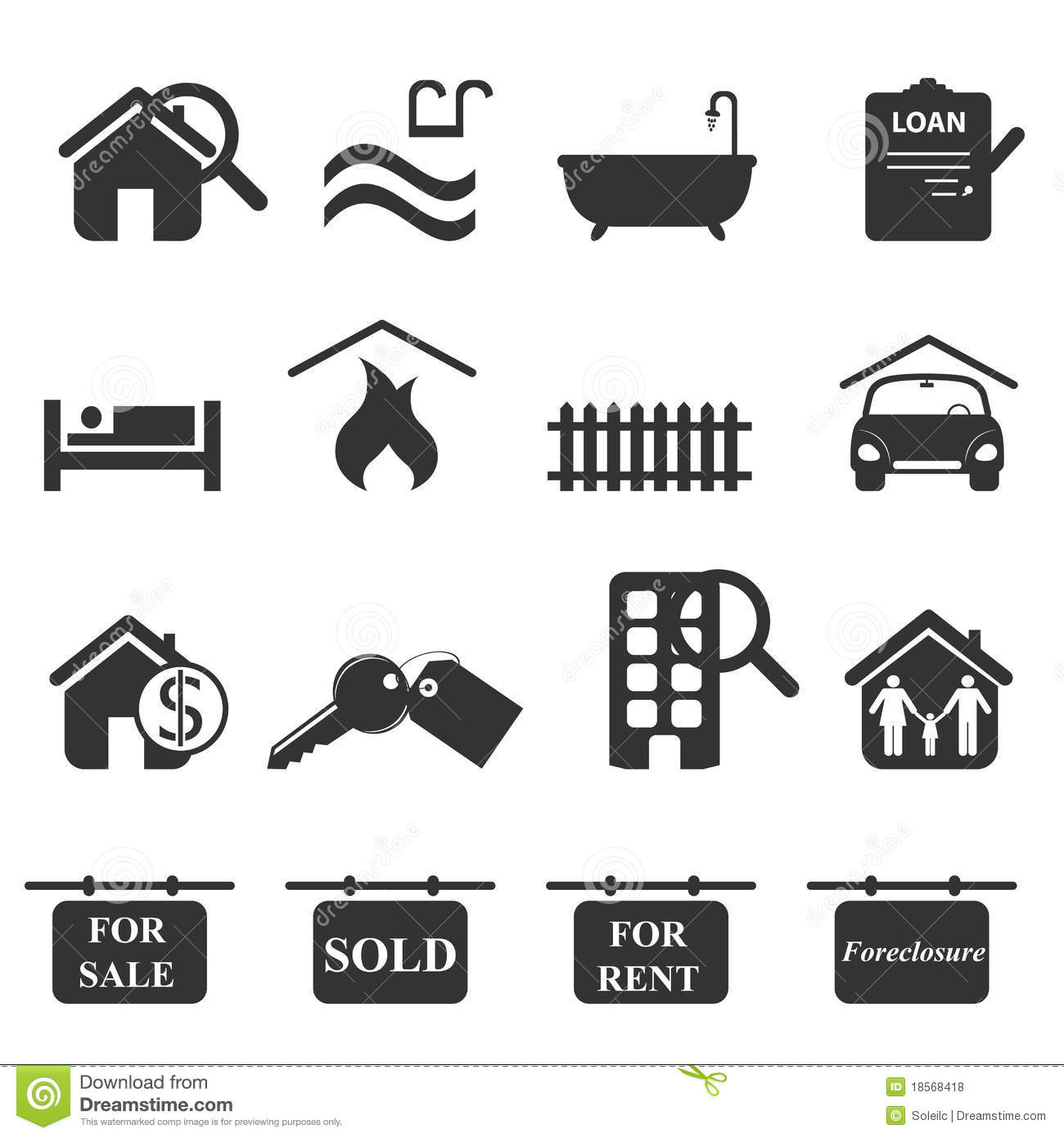 Real Estate Symbols Stock Vector Image Of Document Loan