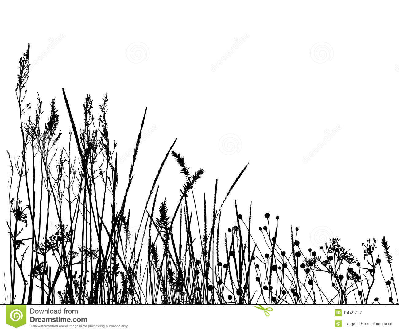 Real Grass Silhouette Vector Royalty Free Stock