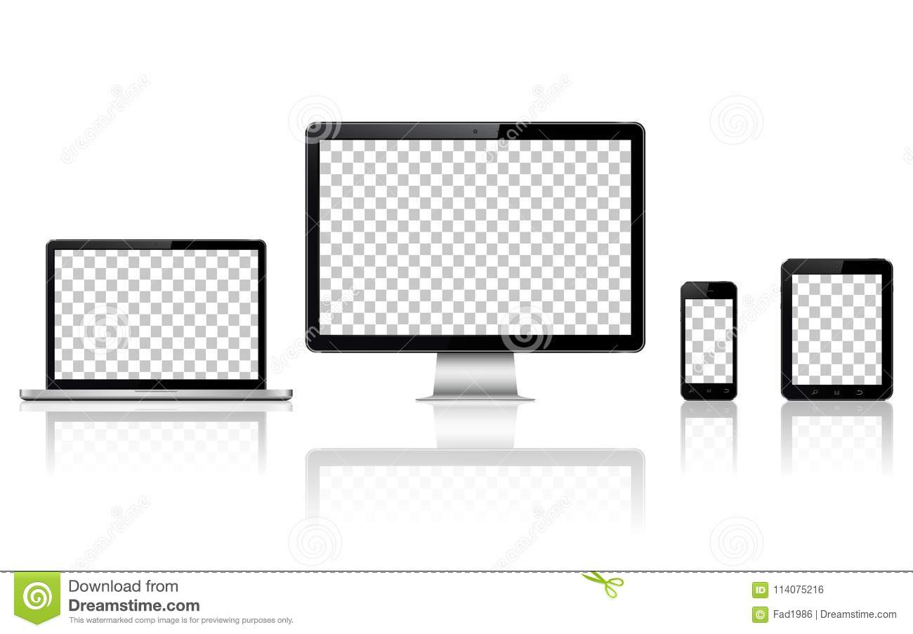 Realistic Computer Laptop Tablet And Mobile Phone With