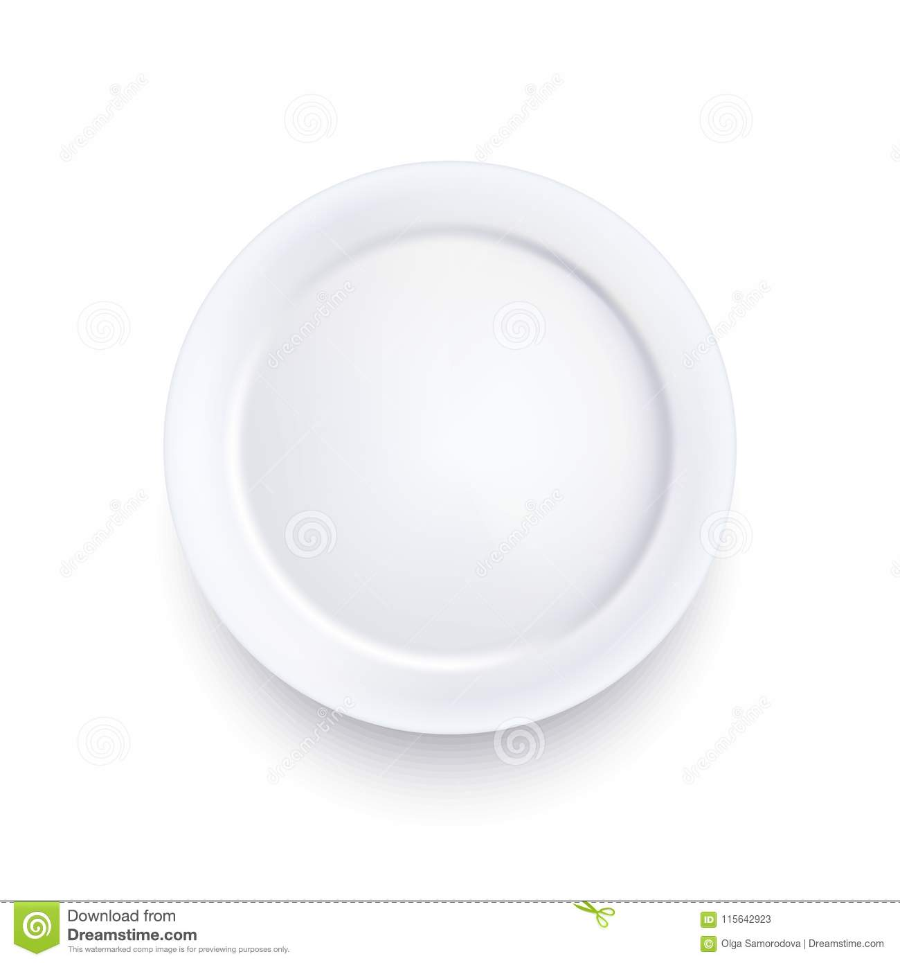 Realistic Detailed 3d Template Blank White Food Plate