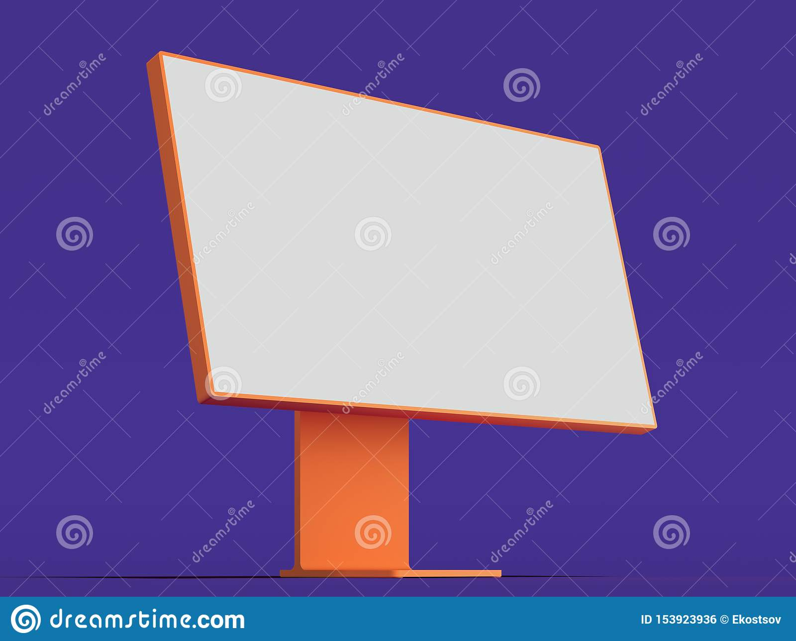 Realistic Pc With Big White Blank Monitor Keyboard And