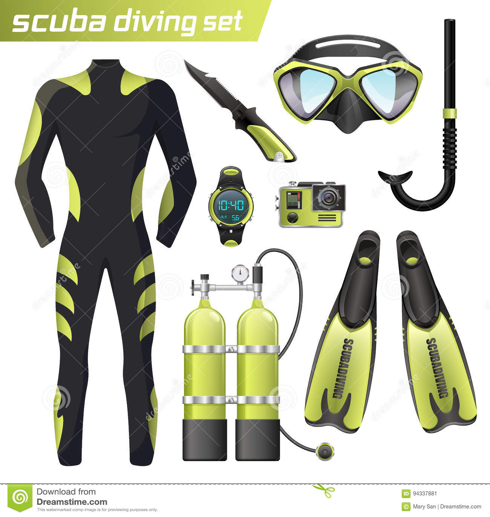 Realistic Snorkeling And Scuba Diving Equipment Scuba