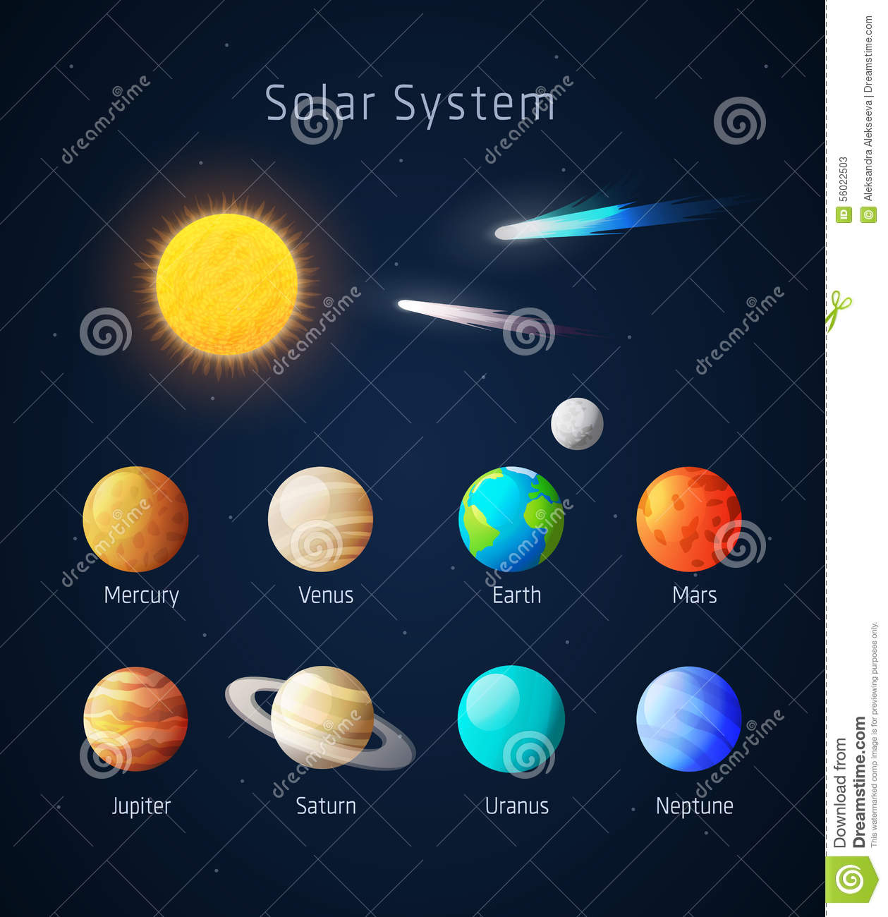 Realistic Solar System Objects Vector Stock Vector