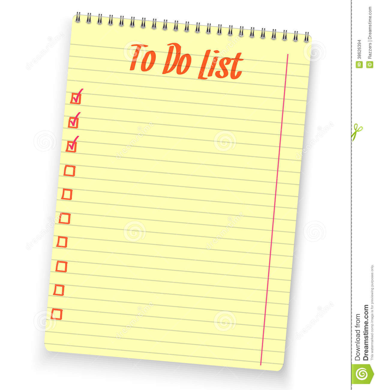 Realistic To Do List Spiral Notebook Yellow Stock Images