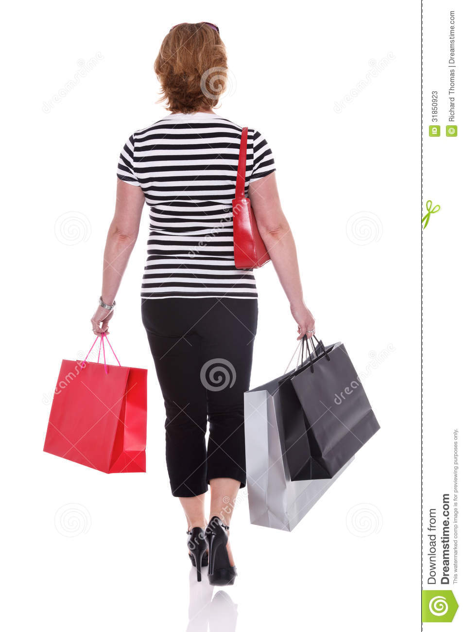 Shopping Bag Black Red Background