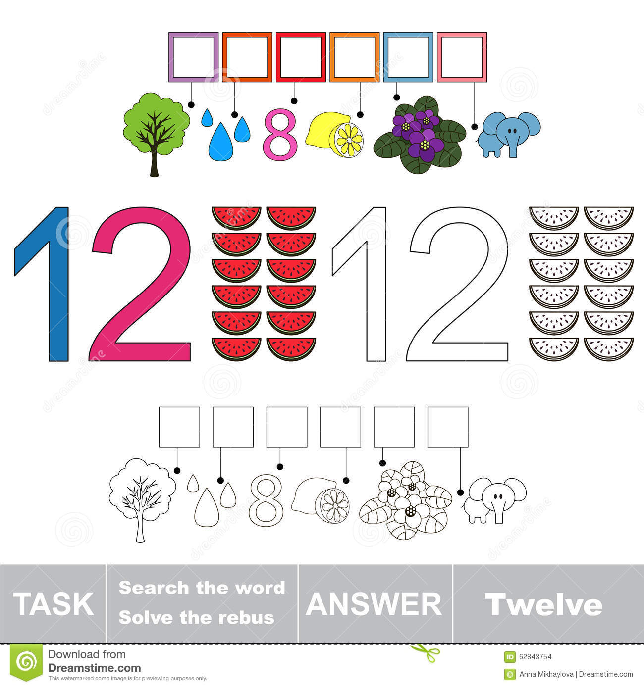 Rebus For Letter Twelve Stock Vector Illustration Of Page