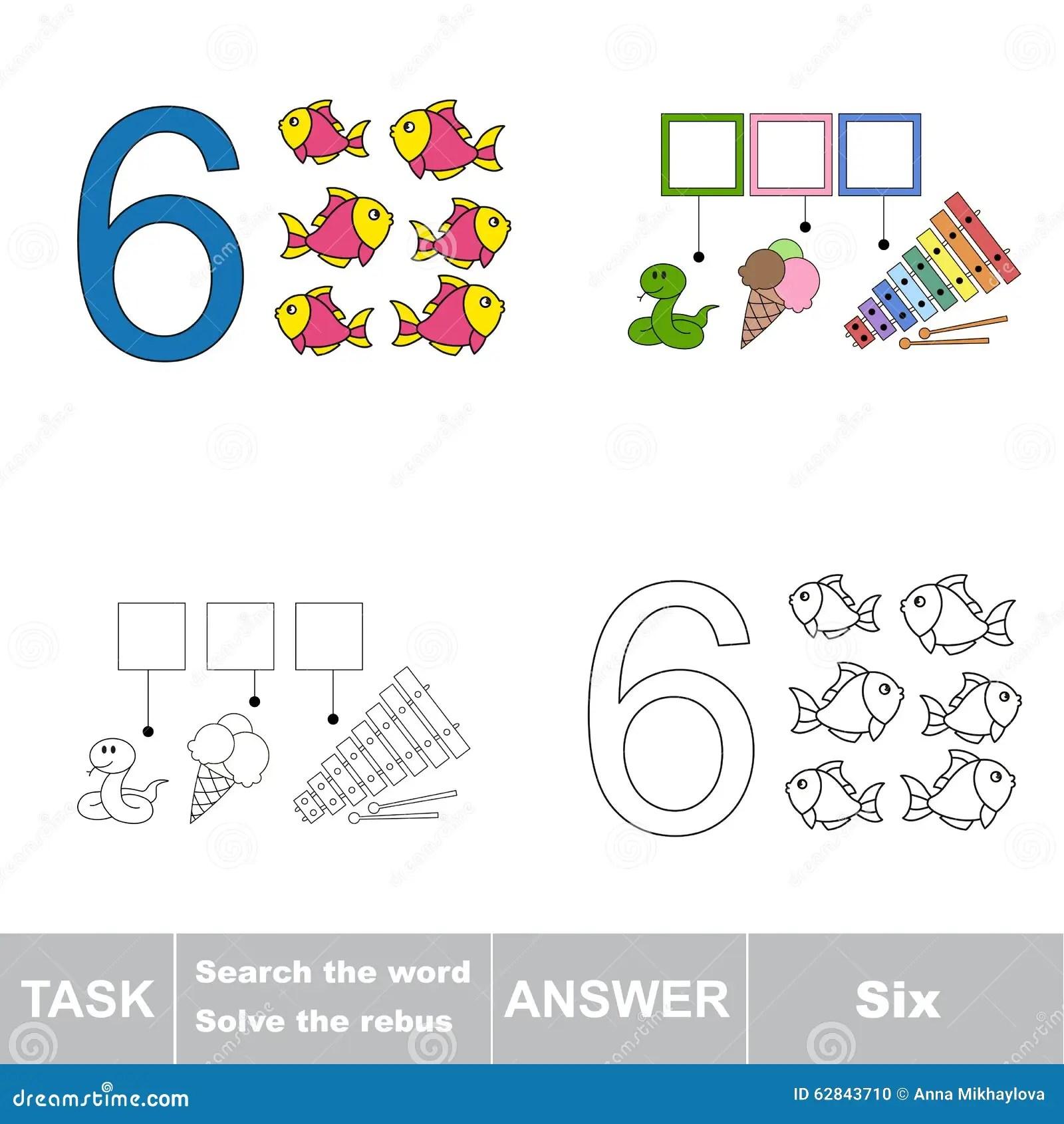 Rebus For Letter 6 Stock Vector Illustration Of Brain