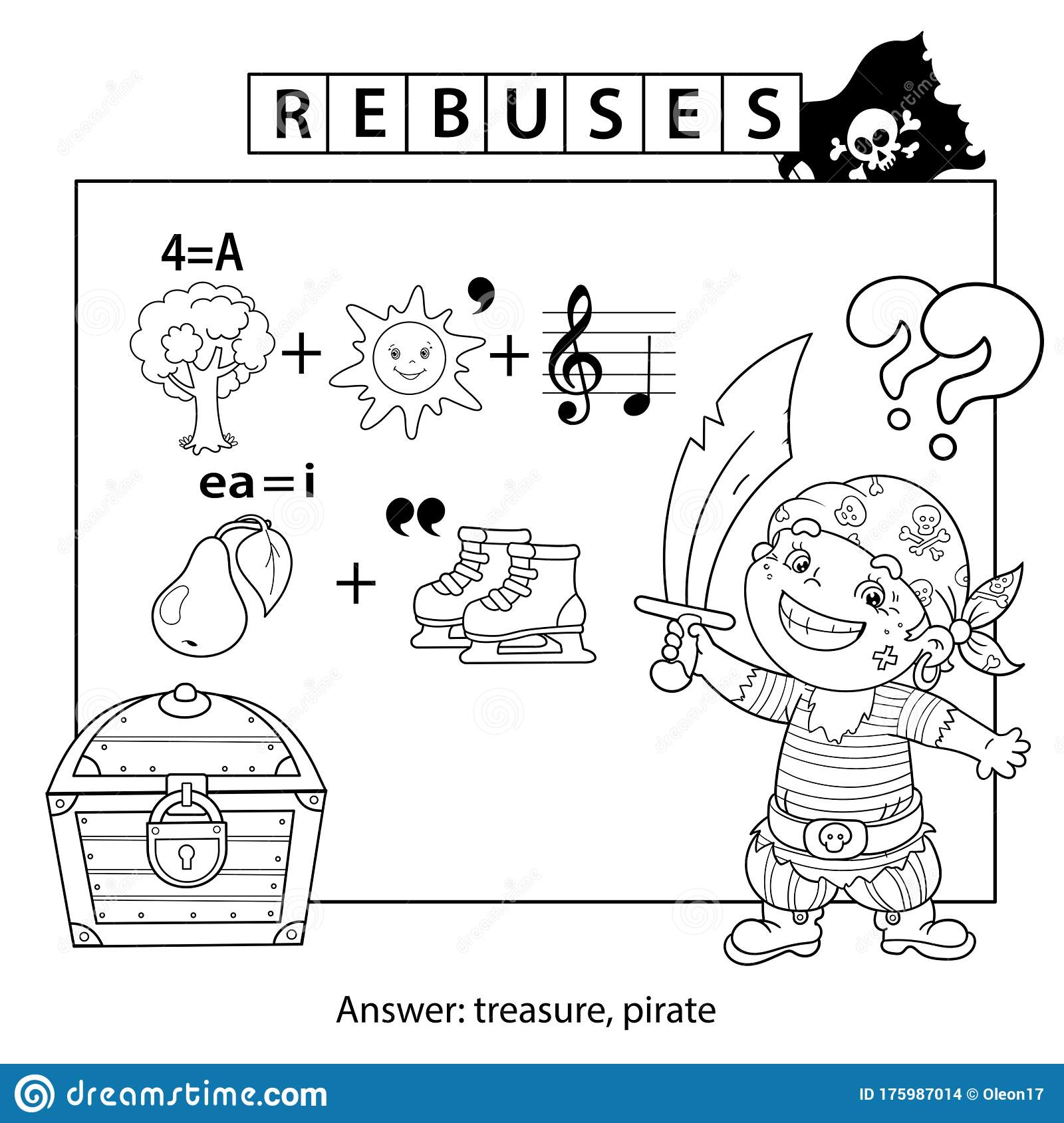 Rebus Or Logic Puzzle Game For Children Coloring Page