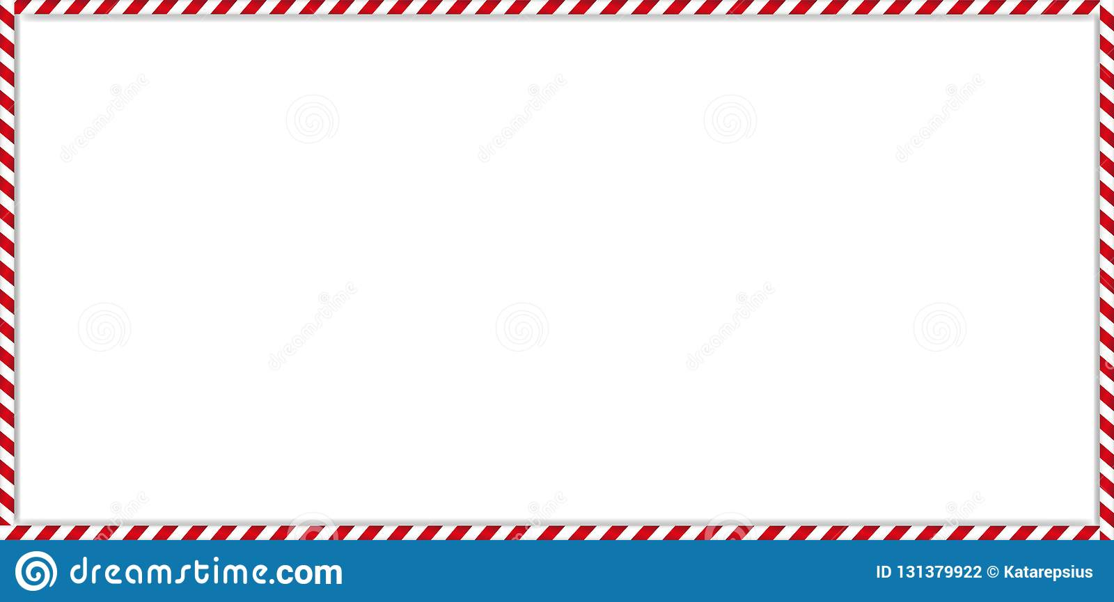 Rectangle Candy Cane Frame With Red And White Striped